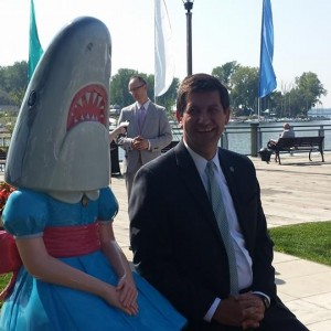 Mark and Shark Girl at Canalside, a succesfful public art project through a collaborative with the Albright Knox Art Gallery.