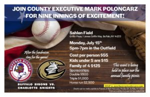 Join Erie County Executive Mark Poloncarz for a night at the Ball Park! @ Sahlen FIeld