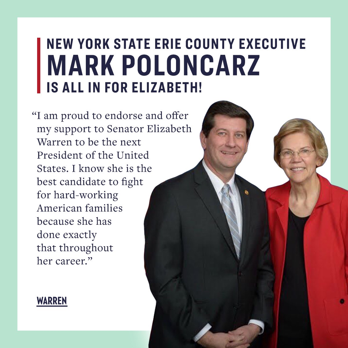 Warren and Poloncarz Photo