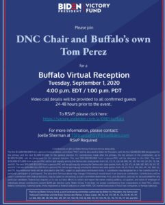 Biden Victory Fund Buffalo event with Chairman Perez on September 1 @ ZOOM